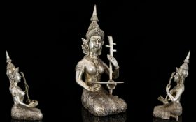 Indian - Cast Silver Statue / Figure of An Indian Deity - Playing a Musical Instrument In a