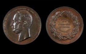 International Exhibition Large Proof Like Bronze Medallion By C. Weiner Date 1862.