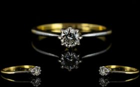 18ct Gold And Platinum Single Stone Diamond Ring Fully hallmarked,
