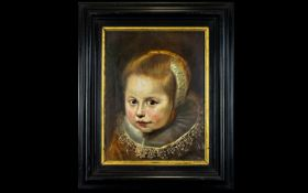After Cornelis De Vos (1585 - 1651) Oil On Panel Portrait Of Young Girl (Member Of The Van Houten