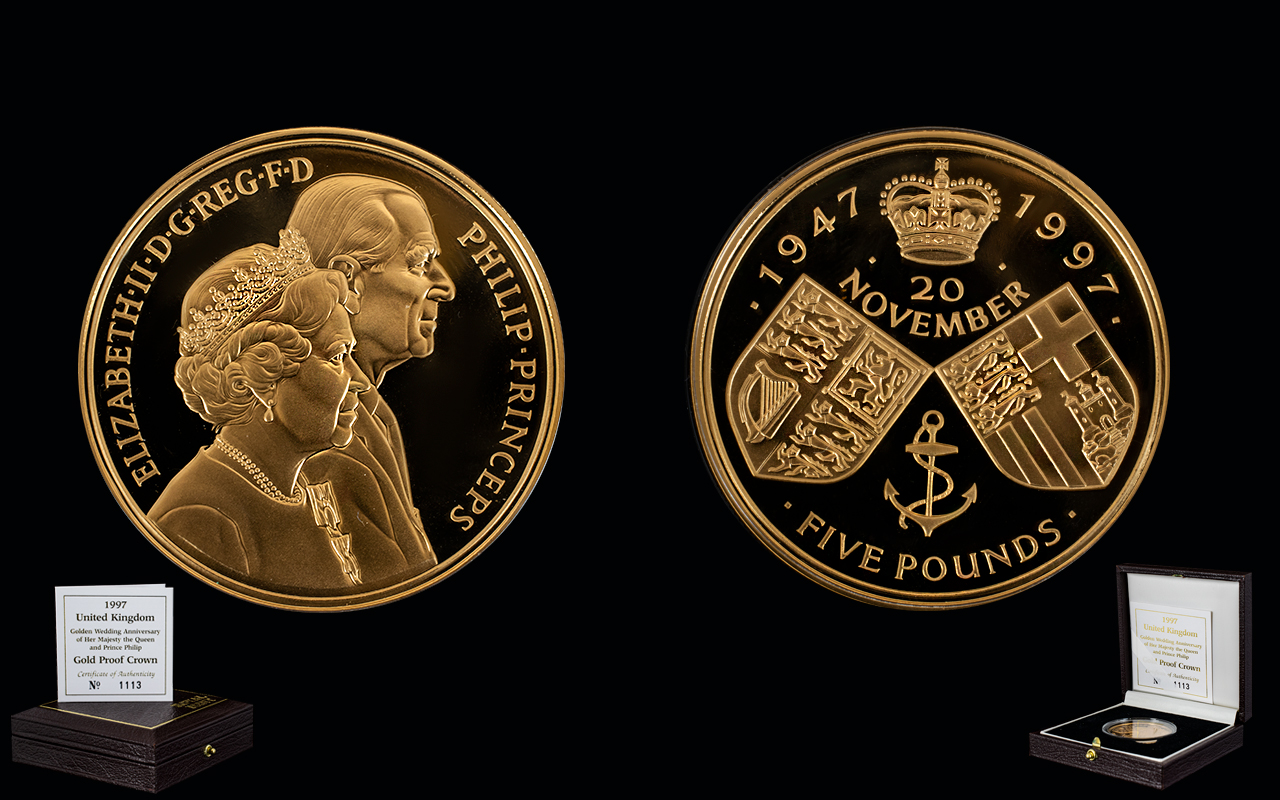 Lot 42 - Royal Mint United Kingdom 1997 Ltd and Numbered Edition Golden Wedding Anniversary Queen Elizabeth