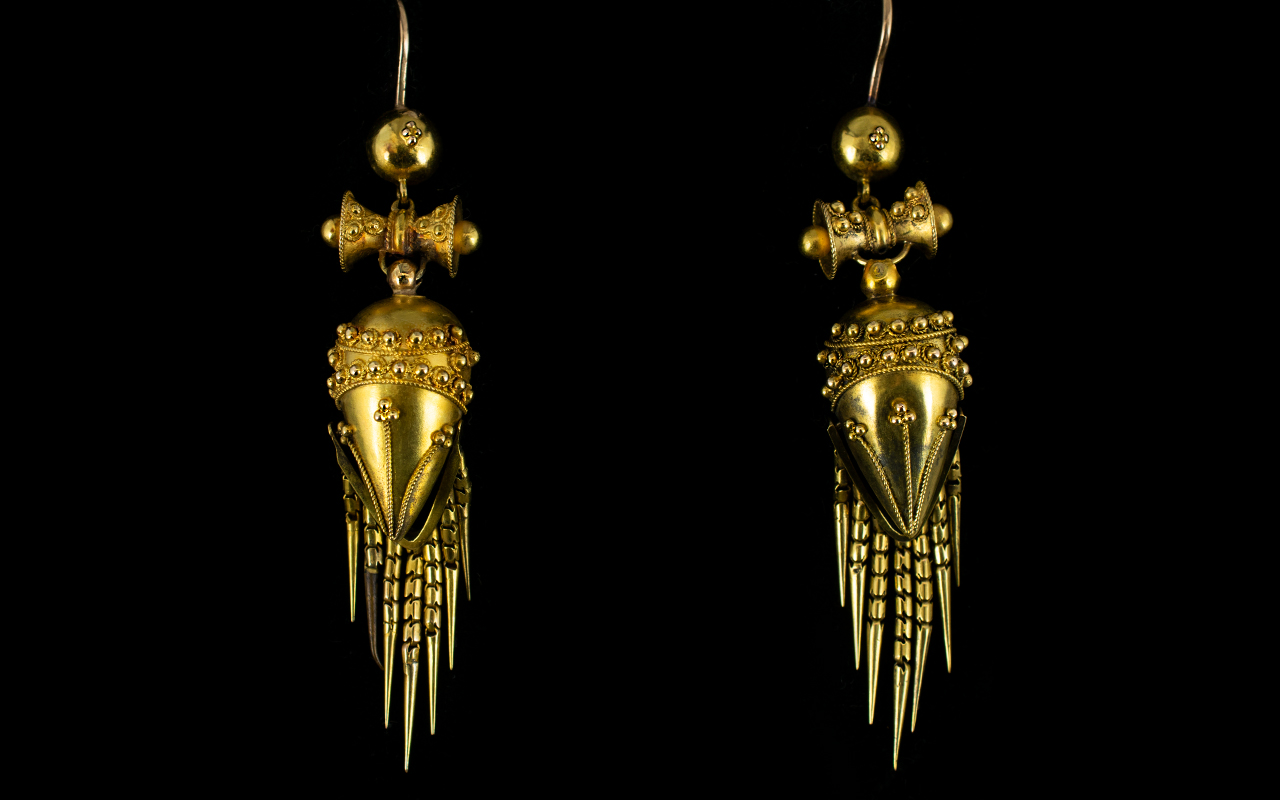 Lot 12 - A Pair Of Victorian Etruscan Revival Earrings Unmarked but tests 15ct,