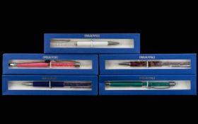 Collection of Swarovski Ballpoint Pens ( 5 ) In Total, All Various Stylish Colours,