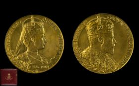 King Edward VII And Queen Alexandra Official Coronation Large Gilt Copper Medallion Dated 9th