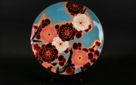 Modern Japanese Ando Cloisonne Charger Pale blue ground with vibrant metallic toned prunus blossom