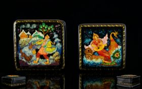 Russian Lacquer Table Boxes Two in total, each in wonderful condition, comprises, 1. 'The Swan