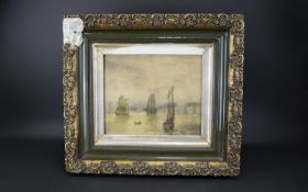 Watercolour Depicting Boating Scene On Calm Water circa 19th century, housed in period frame. Some
