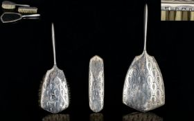 Elizabeth II 1950's Ladies 3 Piece Silver Vanity Set. Comprises Hand Mirror, Hair Brushes x 2.