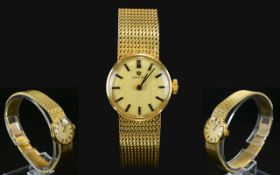 Omega Watch Co - Ladies 9ct Gold Watch with Integral 9ct Gold Chain Mail Bracelet,