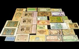 Folder of Around Thirty Relatively High Value Banknotes from around the world. Many of these notes