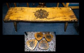 A Low Coffee Table Together With Four Pear Shaped Carved Stools low rectangular coffee table with