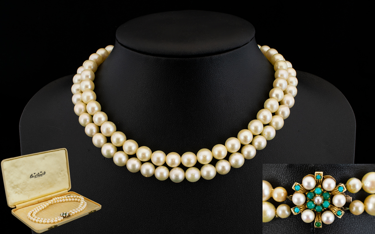 Lot 24 - Ladies - Attractive and Superb Quality Double Strand Cultured Pearl Necklace with Large & Good