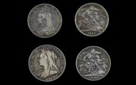 Victorian Silver Crowns ( 2 ) In Total. Comprises 1/ Jubilee Head, Date 1887 - Attractive Coin.