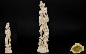 Japanese Impressive And Tall Carved Ivory Okimono Figure Group With Mythical/ Folk Tale Theme. Meiji
