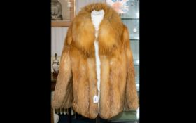 A Red Fox Fur Jacket Short jacket with shawl collar,