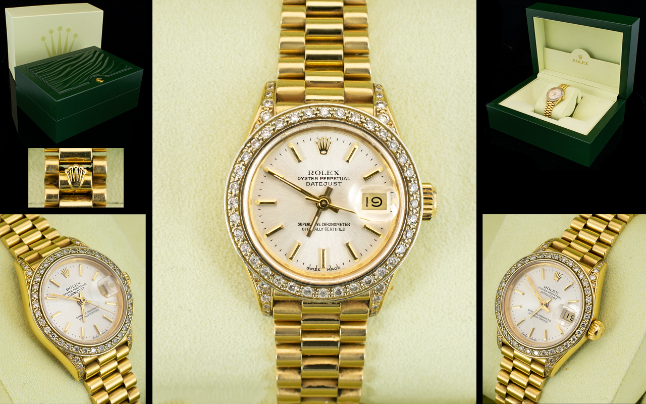 Lot 11 - Rolex Ladies 18ct Gold Superb Quality Oyster Perpetual Date-Just / Automatic Chronometer Wrist