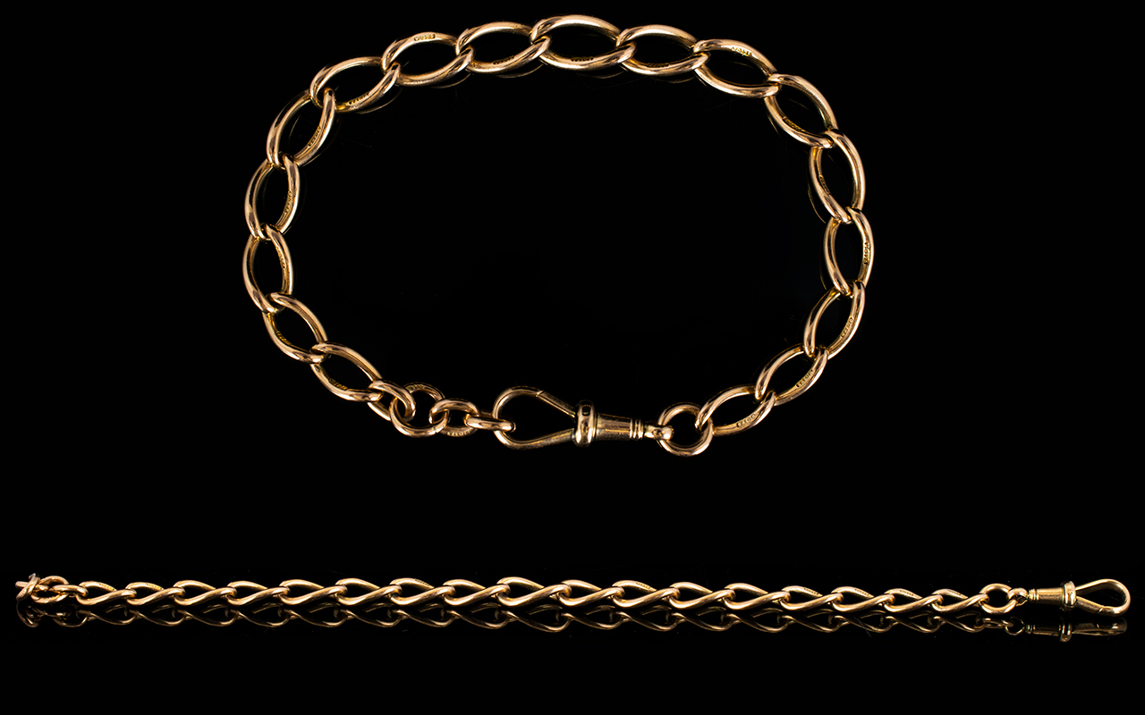 Lot 27 - Antique Period - Nice Quality and Attractive 9ct Rose Gold Curb Bracelet,