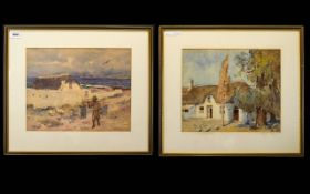 A Pair Of Framed Watercolours The first depicting a seascape with fisherman - indistinct signature