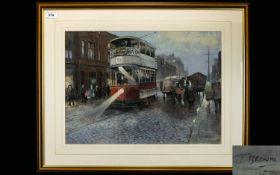 Tom Brown (British B. 1933 -) Original Chalk Pastel On Paper 'Manchester Street Scene With Tram'
