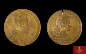 Edward VII & Queen Alexandra Period Bronze Coronation Medallion date 19th August 1902 by G.W.