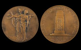Great Britain World War I Large Memorial Bronze Medal 'Unveiling of the Cenotaph',