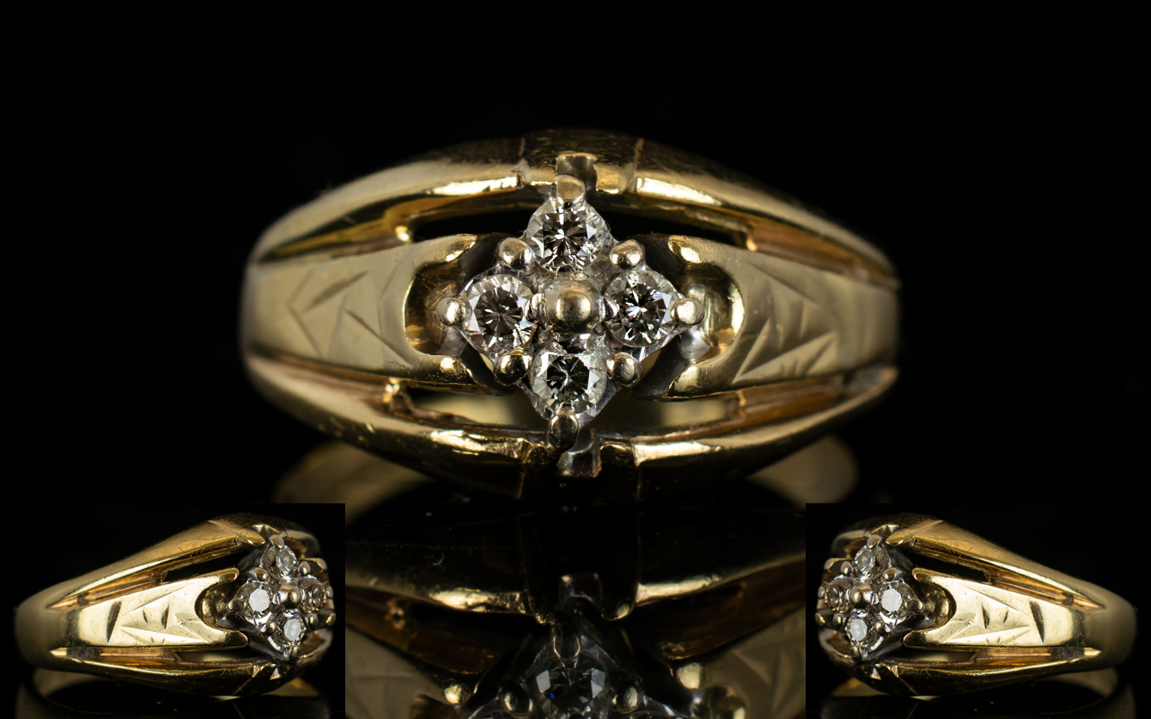 Lot 25A - Ladies 9ct Gold Four Stone Diamond Set Dress Ring solid shank and good design,