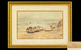 Charles William Adderton 1866 - 1944 ' Coastal Scene of Whitby Bay ' Yorkshire, with Figures and