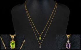Ladies 9ct Gold Chains ( 2 ) with Attached Pendant Drops, One Amethysts and One Peridot.