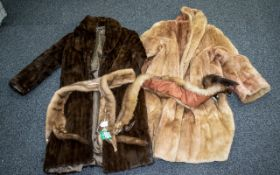 A Collection of Fur comprising of a dark brown mink coat with polysatin lining with lorex floral