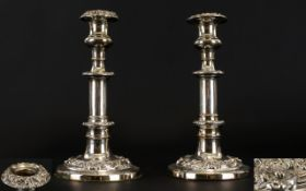 A Pair of Fine Quality and Solid SIlver Plated Pair of Classical Style Candlesticks From The Early