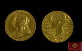 1837-1897 Victoria Diamond Jubilee 22ct Gold Small Medallion Gold Weight 12.8 grams. Mint Condition.