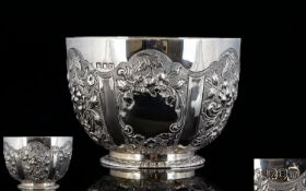 Edwardian - Nice Quality Solid Silver Embossed Small Footed Bowl, with Embossed Floral Decoration to
