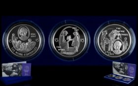 Royal Mint Diana Princess of Wales Commemorative Silver Proof Crown Set (3), date 2002.