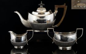 Edwardian Period - Silver 3 Piece Bachelors Tea Service of Excellent Proportions.