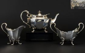 Edwardian Superb Quality Bachelors 3 Piece Solid Silver Tea Services of Excellent Proportions and