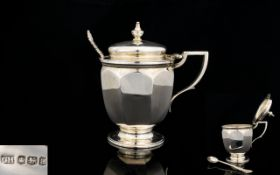 George Hape Solid Silver - Large Lidded Mustard Pot with Liner / Spoon.