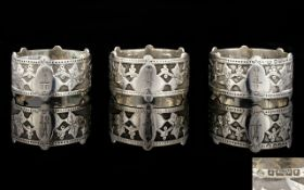 Victorian Period Solid Silver Matching Set of ( 3 ) Napkin Holders of Excellent Quality and Design.