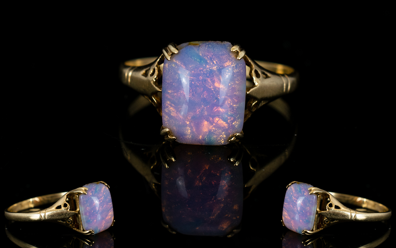 Lot 44 - Antique Period 9ct Gold Single Stone Opal Set Dress Ring, Marked 9ct. The Opal of Good Colour.