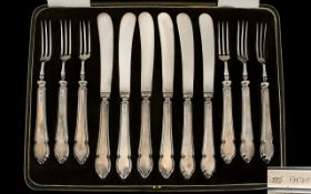 Mappin & Webb Top Quality ( 12 ) Piece Fruit Set, Consists of Six Fruit Forks and Six Knives.