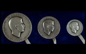 John Pinches Limited and Numbered Edition Prince Charles Investiture Britannia Silver Medallion Set