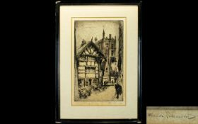 Frank Greenwood Etching of Manchester Grammar School pencil signed by artist, pencil dedication to