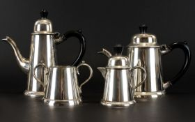 Silver Plated 1950's Four Piece Coffee Set of Good Form / Design.