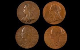 Queen Victoria Diamond Jubilee 1837-1897 Large Pair of Bronze Medallions commemorating the 60th Year