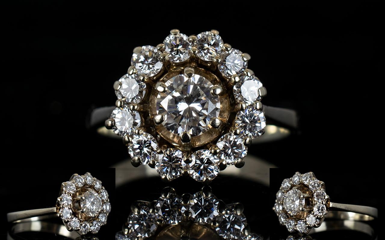Lot 5 - 14ct White Gold Superb Quality Diamond Set Cluster Ring, Flower head Design.