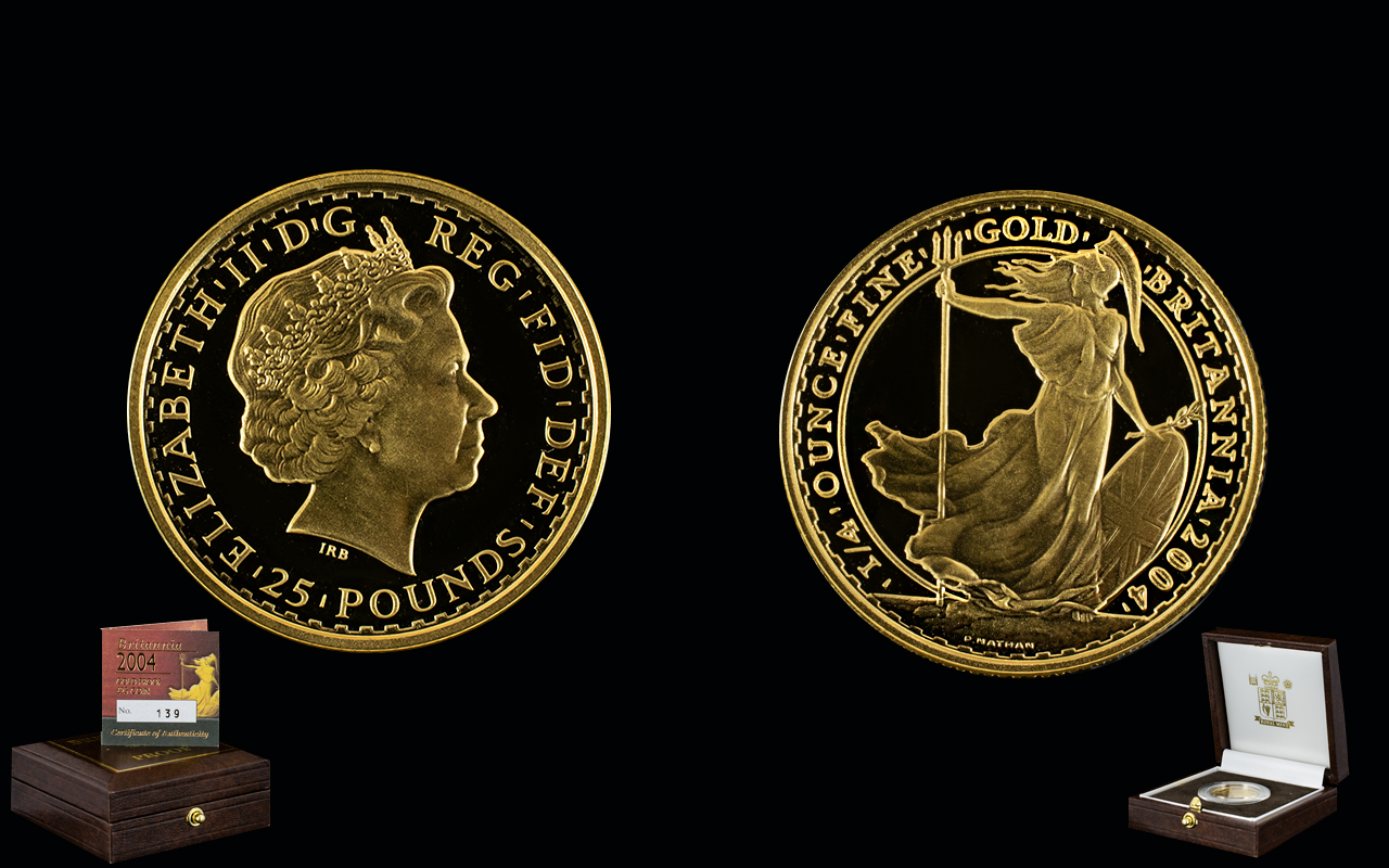 Lot 48 - Royal Mint - Issued Numbered Edition Britannia 2004 Gold Proof £25.