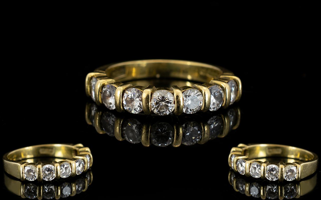 Lot 13 - 18ct Yellow Gold Diamond Set Half Eternity Ring of Attractive Form. Fully Hallmarked for 750 - 18ct.