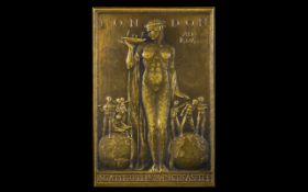 British Empire Exhibition Art Nouveau/Art Deco Transition Rectangular Shaped Bronze Plaque London