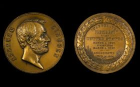 Abraham Lincoln Interest 1865 Proof like, chocolate brown Lincoln Presidential medal,