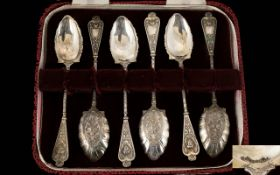 Antique Period Boxed Set of Six Very Ornate Silver Teaspoons, The Body and Stems In High Relief,