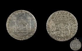 Spanish Silver - Piece of Eight Reals Coin, Date 1738, Good Grade - Please See Photo.